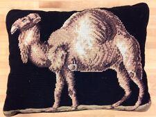 Camel Needlepoint Pillow Velvet Back 15 x 11
