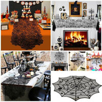 """Halloween Party Decorations Design Lace Spider Web Black Leaf Table Flag 20""""x80"""""""