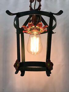Antique Vtg Ceiling Chain Hanging Porch Light Lantern Tudor Art Crafts Green Red