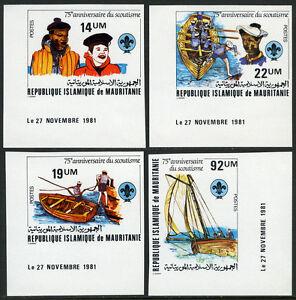 Mauritanie 495-498 Imperf, MNH Scoutisme Mouvement, 75th Anniv. 1982