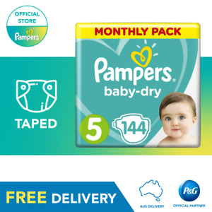 Pampers Baby-Dry Taped Nappies Size 5 Walker, 144 Pack, 11-16kg, Monthly Pack