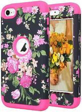 For iPod Touch 5th 6th 7th Gen - Hard Hybrid Armor Impact Case Pink Black Flower