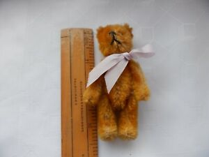 "VINTAGE MINIATURE SCHUCO 1950's TALISMAN FULLY JOINTED TEDDY BEAR - 3 1/2"" LONG"