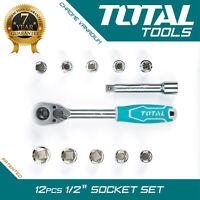 "Total Tools RATCHET WRENCH SOCKET SET 12Pc 1/2"" Hand Ratchet Drive Car Bike Kit"