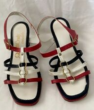 Vintage Red White and Blue High Heels Qualicraft Casualeto Strappy