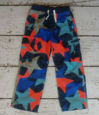 MINI BODEN Boys Blue Orange Star Zip Off Techno Cargo Pants 6 EEEUC
