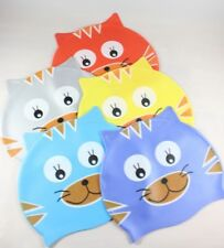 Kids Silicone Smiling Cute Cat Swimming Hats caps