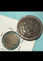Lot228- 1853 Large Cent & 1865 3 cent nickel