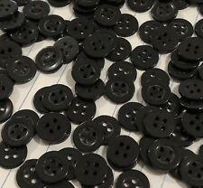 20 Black Round 4 Hole Shirt Buttons 10mm D533 AUSSIE SELLER