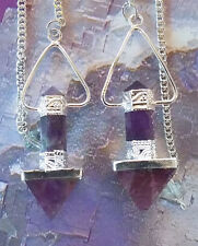 2 LARGE AMETHYST CRYSTAL  AND SILVER PYRAMID DOWSING PENDULUM , SACRED GEOMETRY