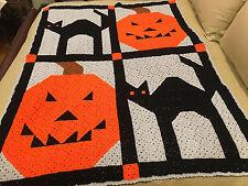 Handmade Afghan Throw Blanket - Designer Collection - Halloween Pumpkins & Cats