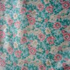 VINTAGE FABRIC QUILT CRAFT SEW DRESS COTTON GREEN ROSES FLORAL 1980S CLASSIC 1m