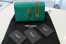 'Authentic' YSL Saint Laurent Metallic Glitter Gold Chain Crossbody