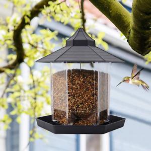 Panorama Bird Feeder, Hexagon Shaped with Roof Hanging Bird Feeder