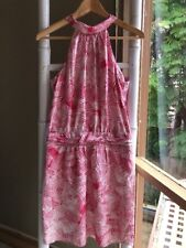 Gorgeous Hi There KAREN WALKER Pink Abstract Print Halter Dress Size 10 S EUC