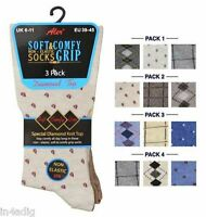 Men's Diabetic Non Elasticated Socks Soft & Comfy Grip Diamond Knit Top 3 Pairs