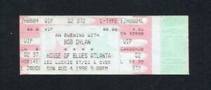 1996 Bob Dylan Blues Brothers Unused Concert Ticket Atlanta GA World Gone Wrong