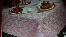 """Quaker style net weave white """"Noel"""" Holiday tablecloth 60"""" x 70"""""""