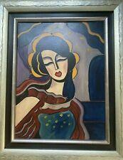 Tableau ancien Portrait de femme art deco peinture signé Schreiber
