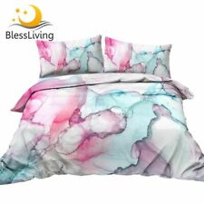 Alcohol Bedding Set Marble Style Quilt Cover 3 Piece Blue Pink Comforter Cover
