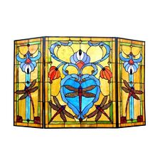 Fireplace Screen Tiffany Style Stained Glass 3 Section Dragonfly Design 44 x 28