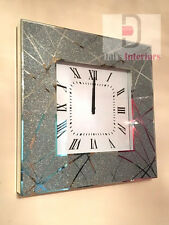 NEW Shimmer Glitter Line Crystals Mirrored Glass Silver Square Wall Clock50x50cm