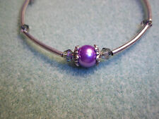 Tibetan Silver Fashion PURPLE Pearl & PURPLE Crystal Bead Bracelet J-52