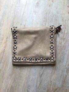 Lederhandtasche Abro, Farbe natur/taupe, besetzt mit Nieten
