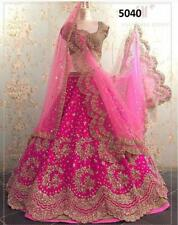 Pink Lehenga Choli Indian Ethnic Wedding Party Wear Lengha Chunri Lahanga Sari