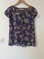 White Stuff Butterfly Floral Relaxed Fit Blouse Top Size 14
