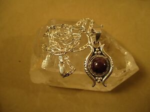 "Egyptian Inspired Sterling Silver Amethyst Pendant 22"" MILOR Figaro Necklace"