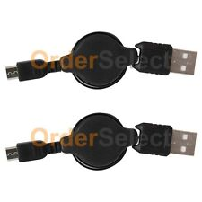 2 Micro USB Retract Cable for Android ZTE HTC LG Motorola Moto Samsung Phone NEW