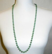 "Vintage China Export 32"" Hand Knotted 8mm Jade Bead Strand Necklace Silver Clasp"