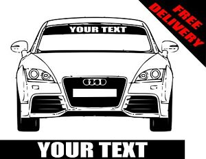 CUSTOM SUN STRIP TO FIT MITSUBISHI CARS  ADD YOUR TEXT DECALS GRAPHICS
