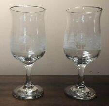 Vintage Arby's Winter Scene Etched Glass Wine/Water Stemmed Glass Set 3