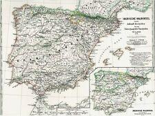 El Mapa de España 711 la venida de los árabes ZALACA Alte Landkarte SPANIEN 1871