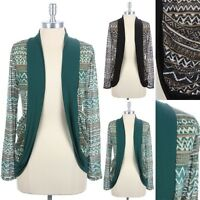 Womens Tribal Print Open Front Cocoon Shape Cardigan Long Sleeve Pockets S M L