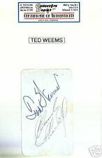 TED WEEMS Band Leader Signed Card Autograph COA d.1963