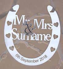 Personnalisé de mariage mr & mrs bonne chance fer à cheval bridal souvenir cadeau gratuit sac