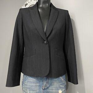 6P Womans NINE WEST Classic Black One Button Blazer Jacket