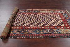 Pre-1900 Antique Tribal Vegetable Dye Kazak Caucasian Russian Runner Rug 3'x9'