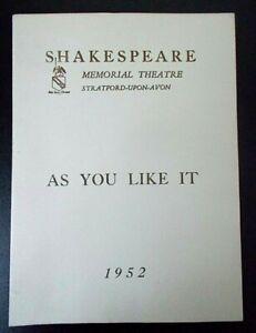 As You Like It programme Shakespeare Memorial Theatre 1952 Margaret Leighton