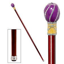Purple Violet Gold Enameled Jeweled HandleHardwood Walking Stick Cane NEW