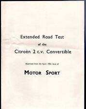 Citroen 2CV A 375cc Convertible Road Test 1954-55 UK Market Brochure
