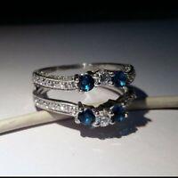 2 Ct Round Cut Swiss Blue Topaz 14k White Gold Over Wedding Guard Enhancer Ring