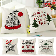 18'' Christmas Custhion Cover Cotton Linen Throw Pillow Case Sofa Couch Decor