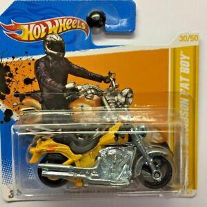 NEW Hot Wheels Harley Davidson Fat Boy Yellow 2012 No 30 V5318 Short Card Sealed