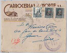 SPAIN  España - POSTAL HISTORY - ADVERTISING COVER to SWITZERLAND - CARS 1939