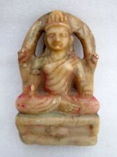 Hindu Money Goddess Laxmi Statue Antique Old Rare Marble Hand Carved Sculpture