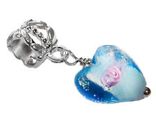 Blue Pink Rose Lampwork Glass Heart Dangle Bead for Silver European Bracelets
